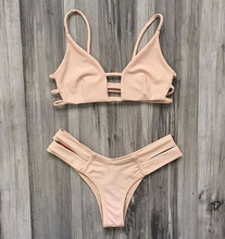 2020, New Bikini, solid color bikini, swimsuit, euro-american split suit, strap split suit two piece bathing suit girl swimsuit
