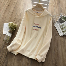 New Hoodies Women Autumn 2019 Casual Loose Oversized BF Style Letter Embroidery Cotton Sweatshirt Tops
