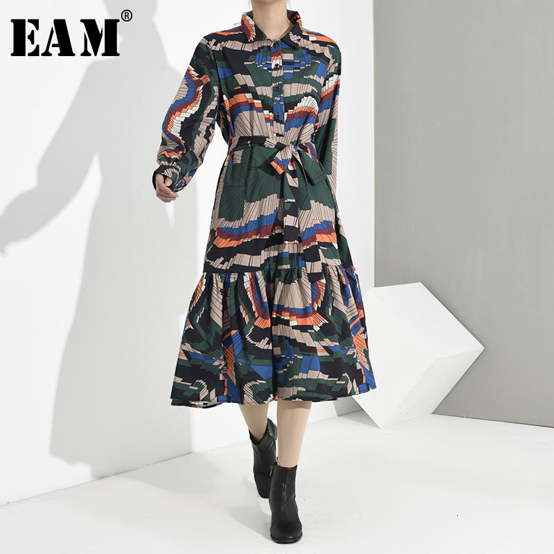 [EAM] Women Pattern Print Pleated Temperament Shirt Dress New Lapel Long Sleeve Loose Fit Fashion Spring Autumn 2020 1H3050