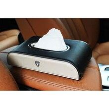 Caja para guardar pañuelos faciales de cuero PU, 1 Uds., para coche, modelo Tesla 3, modelo S, tipo X bloque de decoración, caja de pañuelos automotriz