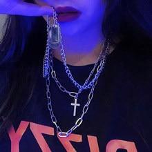 2021 punk chain cruz colar masculino moda estilo rock aço inoxidável multicamadas geométrico pingente colar para mulher