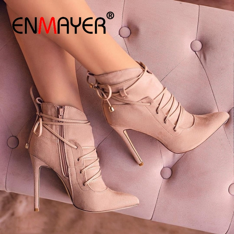 Womens Mid Calf Boots Women Fashion Cross Tied Winter Boots Square Heels Ladies Pointed Toe Shoes