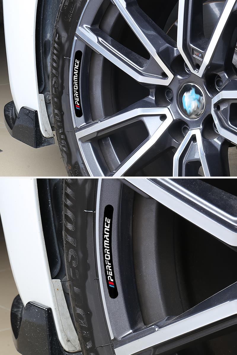 4pcs Mperformance Car Wheel Sticker For BMW E30 E36 E39 E46 E53 E60 E64 E70 E83 E85 E87 E90 E92 E71 F10 F30 F20 F01 F02 M3 M5 X3 3
