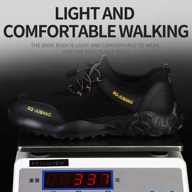 JACKSHIBO scarpe da lavoro antinfortunistiche per uomo scarpe da lavoro estive traspiranti in acciaio antiscivolo scarpe da lavoro stivali di sicurezza Sneakers da lavoro
