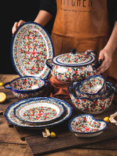 Poland Ceramic Dinnerware Household Salad Bowl Saucer Plate Dishes Set 13 Inch Fish Plate Binaural Noodle Bowl 2L Soup Pot With