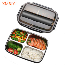 Microwave Lunch Box SUS304 Stainless  Dinnerware Food Storage Container Children Kids School Office Portable Bento Box Lunch Bag 1100ml microwave lunch box wheat straw dinnerware food storage container children school office portable bento box kitchen tools