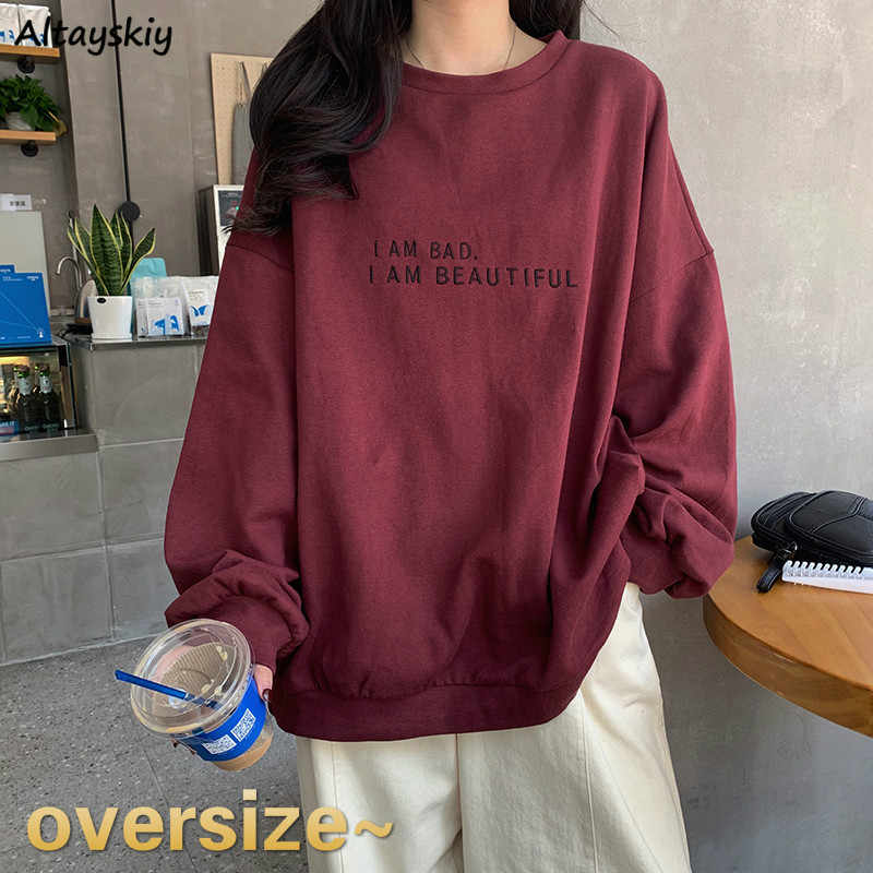 Hoodies Vrouwen Brief Oversized Bordeaux Bf Unisex Koppels 2XL Losse Alle-Match Street Style Sweatshirt Casual Harajuku Comfortabele