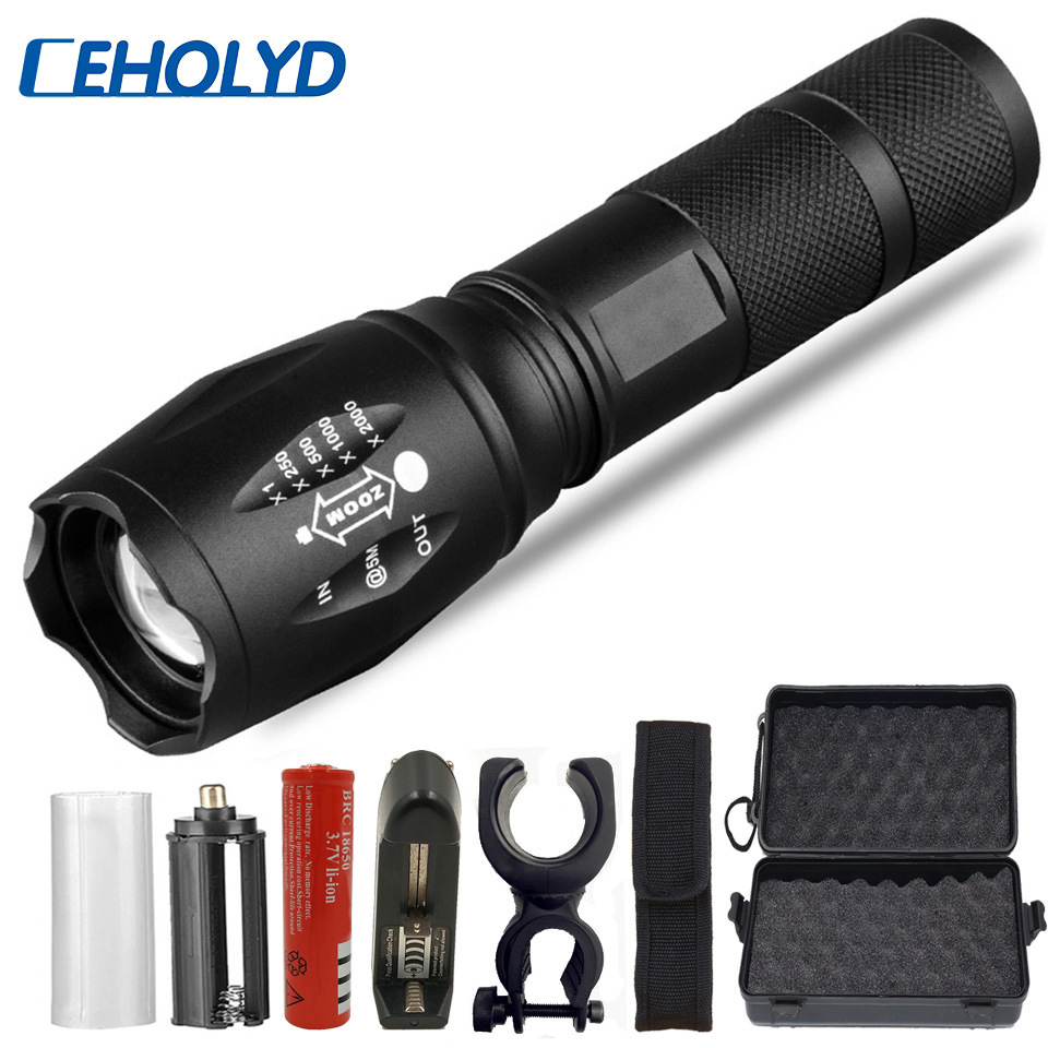 Led Flashlight Ultra Bright Torch V6 L2 T6 Camping Light 5 Switch Modes Zoomable Bicycle Light Use 18650 Battery