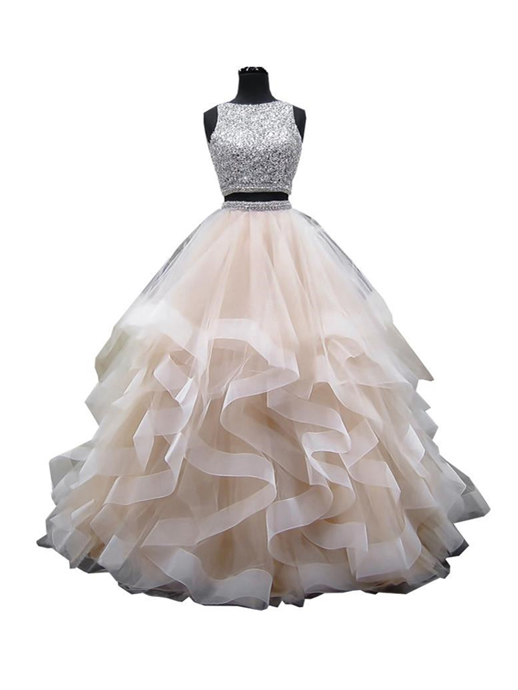 Ball-Gown Quinceanera-Dresses 16-Dress Beaded Crystals Organza Two-Pieces Long-Tiered