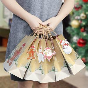 Image 2 - OurWarm クラフト紙袋キャンディボックスクリスマスグッディバッグ紙ギフトバッグ紙クリスマス包装お菓子ポップコーンボックス 23x9 × 18 センチメートル