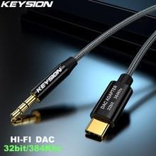 KEYSION DAC HIFI USB Typ C zu AUX 32bit 384Khz Kopfhörer Verstärker Lautsprecher Kabel Adapter HD Digital-Decoder Auto audio Eingang Kabel