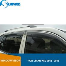 Smoke car window rain protector For Lifan x50 2015 2016 2017 2018 Window Visor Vent Shades Sun Rain Deflector Guard SUNZ стоимость