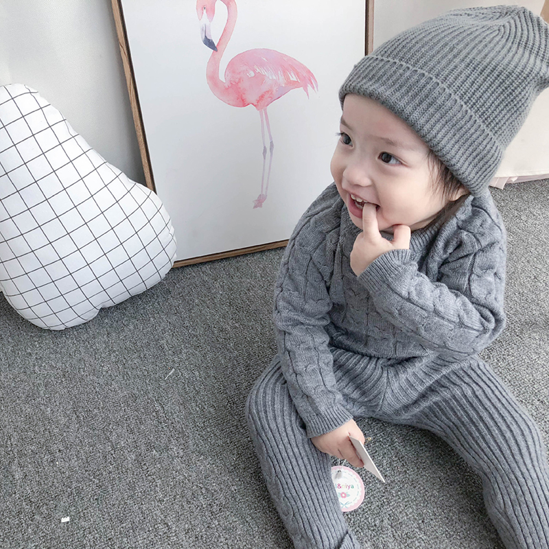Autumn Toddler Baby Boys Girls Knit Clothing Set Infant Boys Suit Thick Warm Winter Baby Girls Boys Clothes Set Sweater+Pants 6