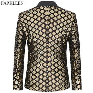 Image 2 - Shiny Gold Diamond Sequins Blazer Men Peak Lapel Mens Suit Jacket Stage Banquet Host Party Club Disco Blazer Masculino Costume
