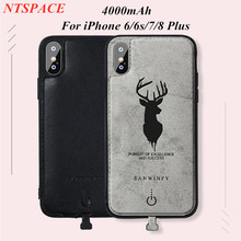 NTSPACE Deer graphic Portable Power Bank Cover For iPhone 6/6S/7/8 Plus Battery Charger Case 4000mAh External Backup Power Case