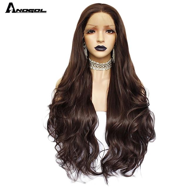 Аногол темно коричневые натуральные волнистые прямые парики для женщин термостойкие высокотемпературные синтетические парики с кружевом спереди