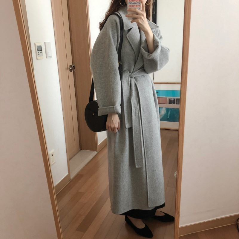 H63bd5052e7224116b2f1ab81b0330331z Winter Fashion Coats Women Wool-blend Coat Lazy Oaf Long Chunky Warm Coat Western Style Fitted Waist Lace-up  Loose Coat