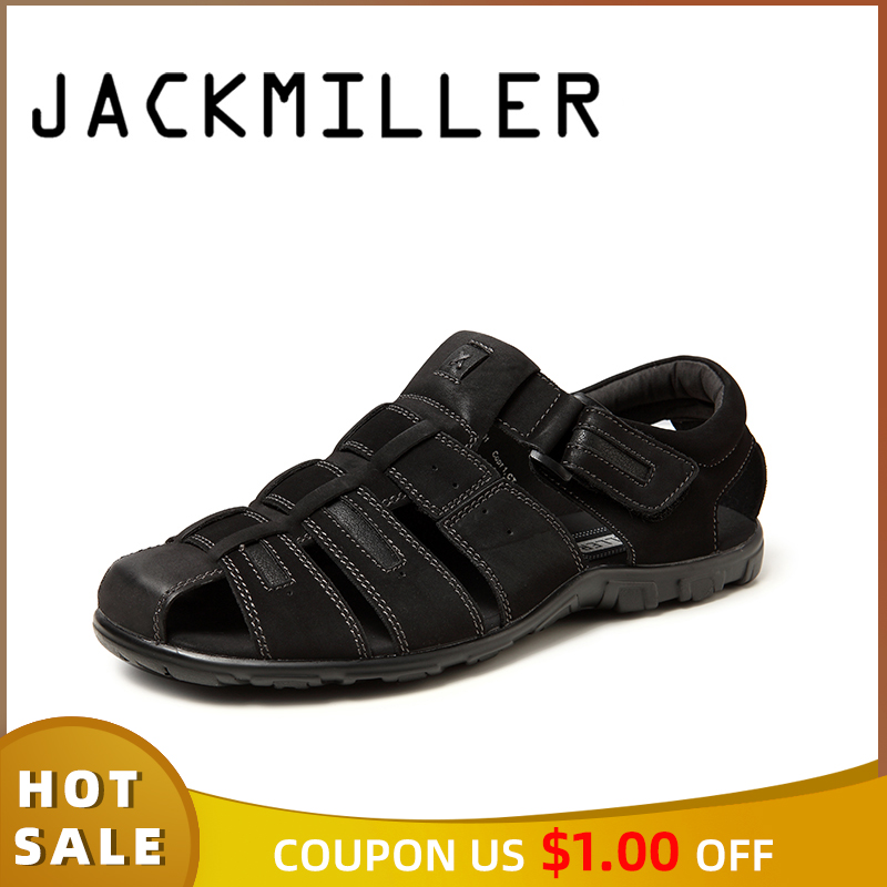 Jackmiller Men Sandals Summer Hot Sale Super Light Men Shoes Hook & Loop Handmade Shoe Protect Toes Solid Black Breathable Shoes