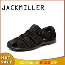 Jackmiller men sandals summer hot sale super light men shoes hook & loop handmade shoe protect toes solid black breathable shoes