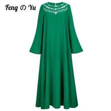 Autumn Ladies Round Neck Embroidered Robe 2021 Dubai Saudi Arabia Muslim Fashion Loose Long Sleeve Robe Dress Green