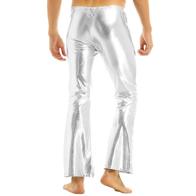 ChicTry Adults Mens Shiny Metallic Disco Pants with Bell Bottom Flared Long Pants Dude Costume Trousers for 70's Theme Parties 4