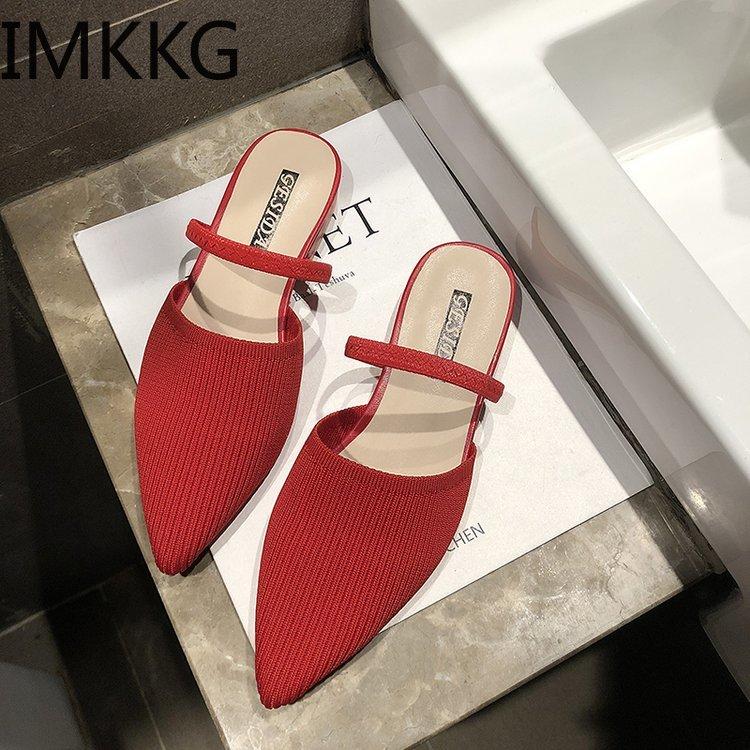 Elastic Upper Slippers Home Women Low Heel 2.5 Cm Slippers Female Sock Shoes Summer Brand Designers 2019 Mules Y10319