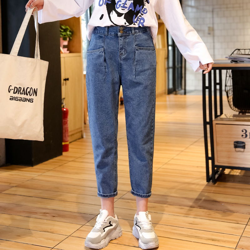 Vintage Plus Size Solid Jeans For Women High Waist Jeans Spring Summer 2019 New Thin Jeans Woman Elasticity Denim Pants WKN636