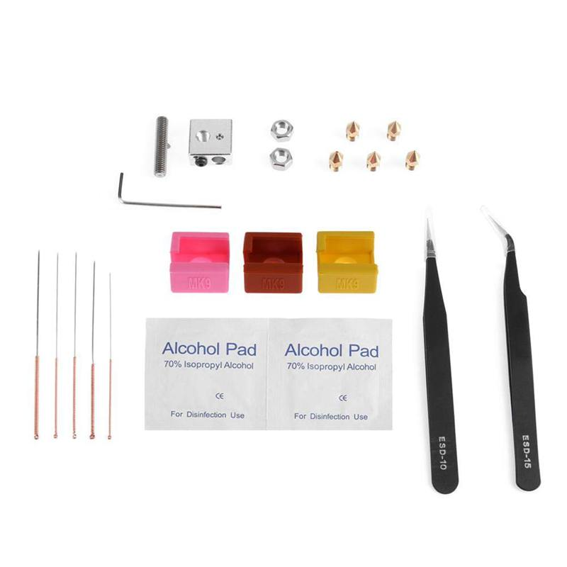 Mk9 Heating Block Silicone Case Cover Nozzle Hose Tweezers Cleaning Drill Kits For Creality Ender 3 3D Printers Extruder-in 3D Printer Parts & Accessories from Computer & Office
