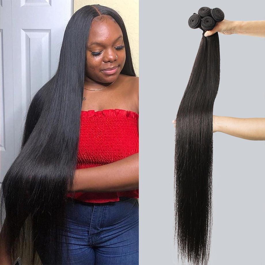 Fasci di capelli umani ad onda diritta in osso tessuto brasiliano per capelli spessi 1 3 4 fasci di capelli umani per estensioni dei capelli delle donne nere