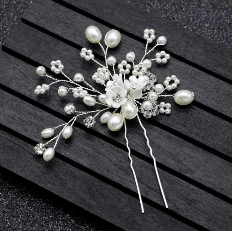 เจ้าสาวงานแต่งงานที่ละเอียดอ่อนเครื่องประดับผมพอร์ซเลนสีขาวดอกไม้เจ้าสาวผมหวี Pins Handmade ผู้หญิง Headpiece พรหม