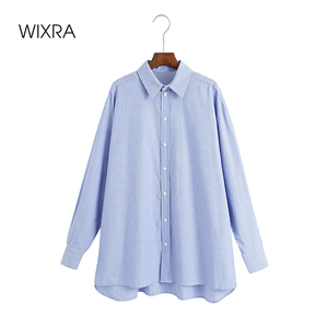 Wixra Loose Blouses Shirts Boyfriend Single-Breasted Female Blue Striped Shirts Fashion Spring Autumn Oversized Tops For Women