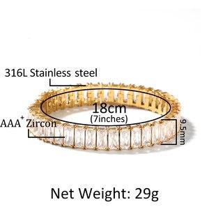 Image 4 - Квадратный Теннисный браслет с кубическим цирконием 9,5 мм, ширина 8 дюймов, никогда не выцветает, нержавеющая сталь, кубический цирконий с микрозакрепкой, хип хоп, ювелирный браслет мужской