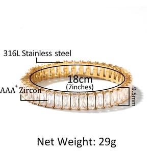 Image 4 - Vierkante Cz Tennis Armband 9.5 Mm Breedte 8 Inch Nooit Vervagen Rvs Micro Verharde Kubieke Zirkoon Hip Hop Mens armband Sieraden