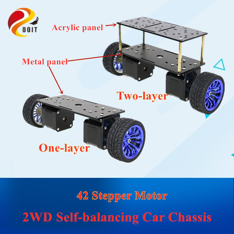 더블 플레이트 2wd 자기 균형 스테퍼 모터 자동차의 두 라운드 2 륜 균형 자동차 스마트 자동차 섀시 키트