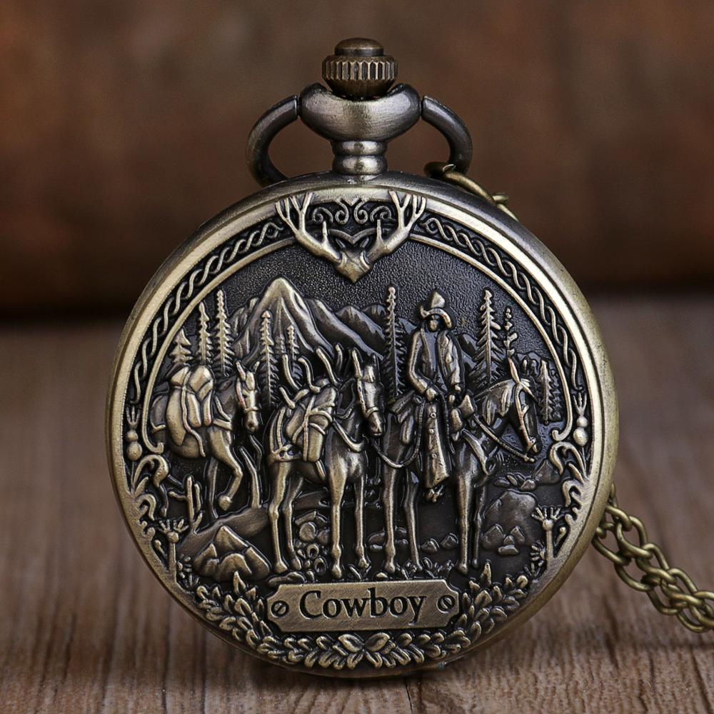 New Antique Vintage Bronze Cowboy Horse Quartz Pocket Watches Analog Pendant Unisex Pocket Watches Necklace Chain For Men Women