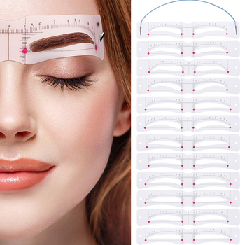 12 Pcs Eyebrow Stencil Reusable Template Makeup Tools Eyebrow-Shaped Mold Card MH88