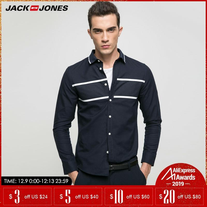 JACK & JONES Brand 2019 NEW Younger Casual 100% Cotton Turn-down Collar Patchwork Full Length Sleeves Men Shirts |217105505
