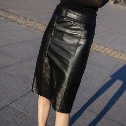 Falda de cuero genuino negro para mujer de talla grande faldas de tubo Midi para mujer de cintura alta de piel de oveja Real falda de mujer hasta la rodilla