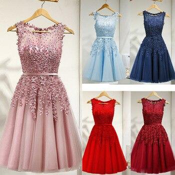 Es der YiiYa Brautjungfer Kleid Für Mädchen Plus Größe Kurzen Rosa Blau Party Kleider 2019 Frauen vestido madrinha LX073