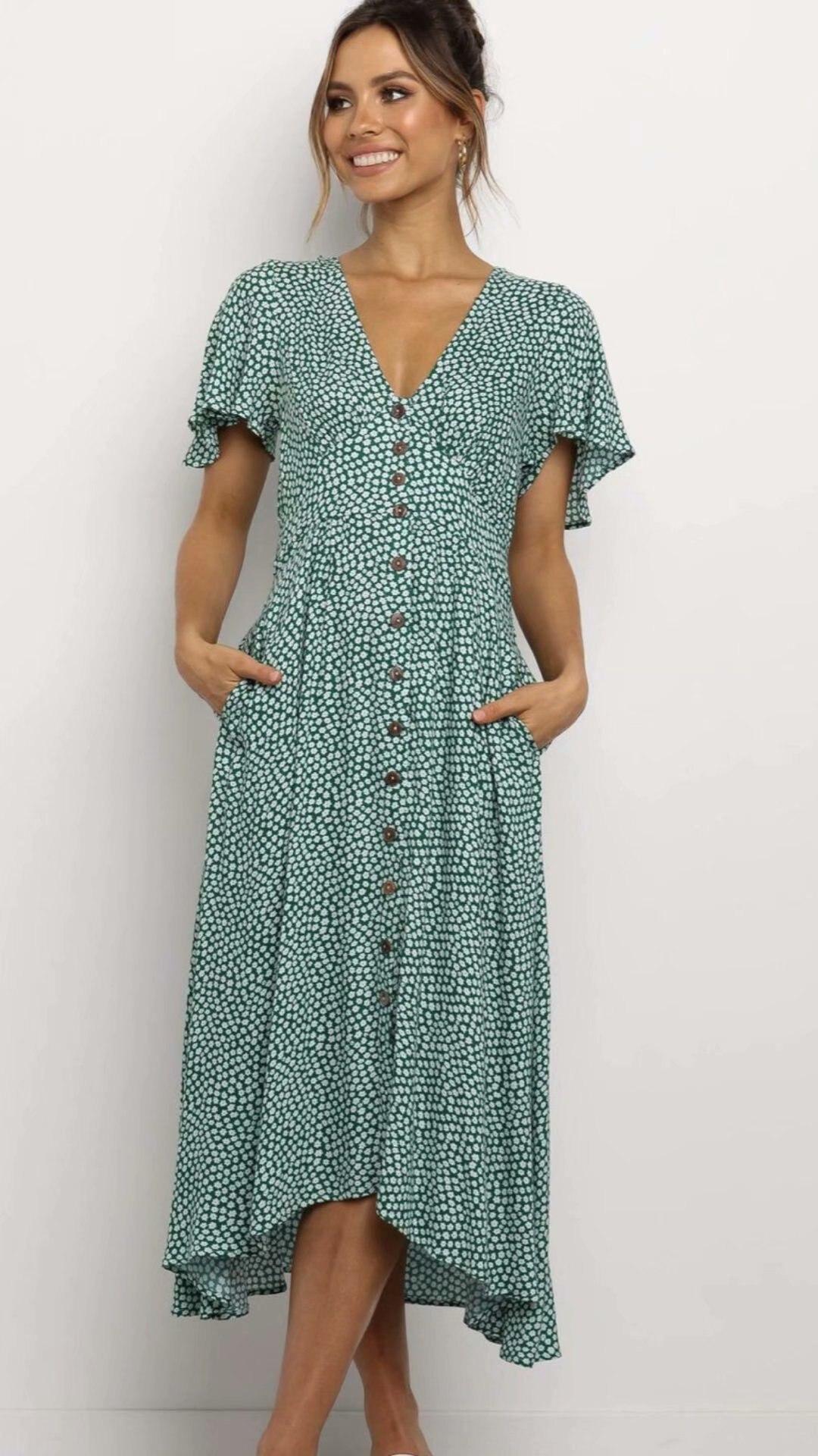 2020 Spring Summer New Jacquard Green Color Floral Print Dress zaraing vadiming sheining zafuler Sukienka Boho women dress S597