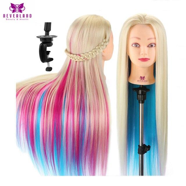 NEVERLAND 70 см длинные густые волосы Парикмахерская кукла манекен голова для прически красочные розовые плетеные манекены учебная голова + пода...