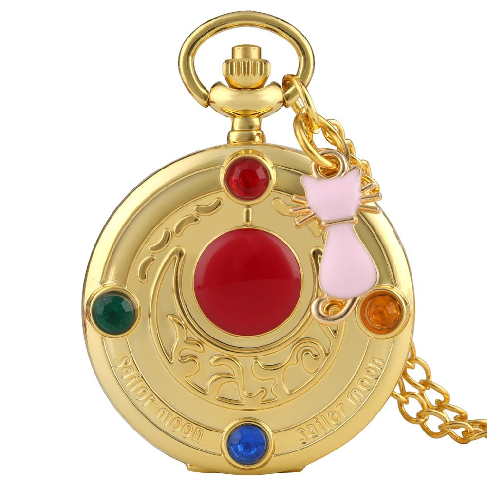 Delicate Diamond Case Cover Pocket Watch Charming Sailor Moon Dial Pocket Watches Adorable Pink Cat Pendant Watch For Women