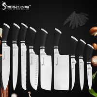 Sowoll бренд 9 шт. набор кухонных ножей из нержавеющей стали набор ножей шеф-повара для нарезки хлеба разделочные косточки Santoku нож для фруктов