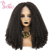 SOKU Synthetic Afro Wigs Lace Front Middle Part Wig