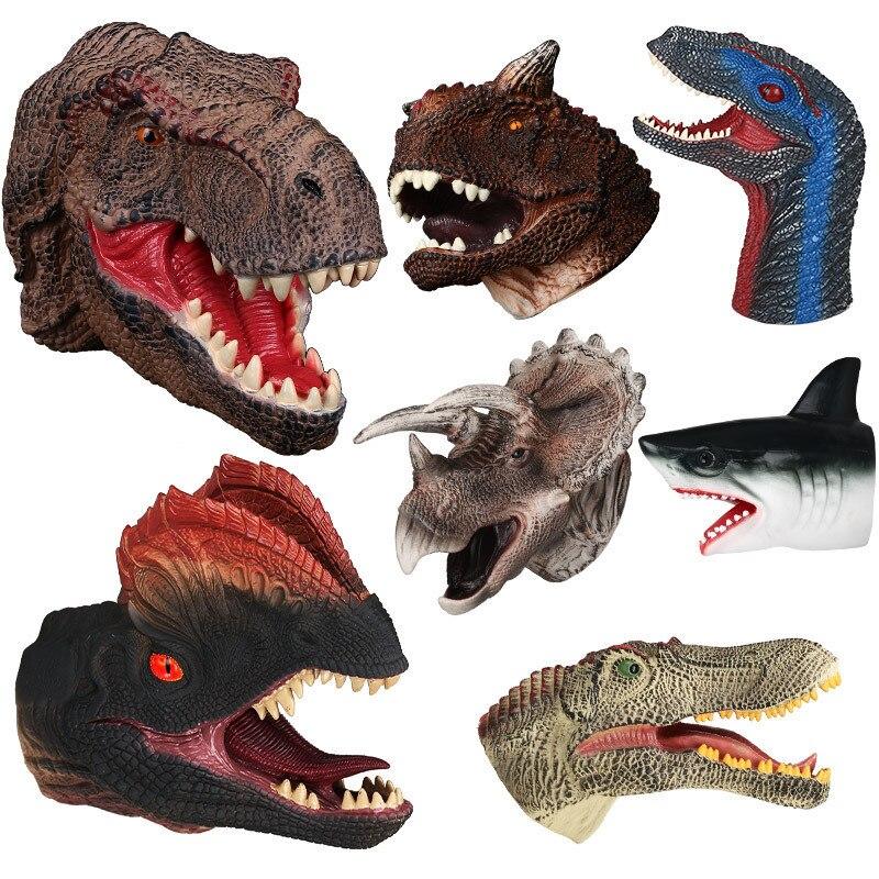 Soft Vinyl Rubber Animal Head Hand Puppet Figure Toys Gloves For Children Model Gift Dinosaur Hand Puppet Toys For Children