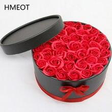 Boîte ronde en papier pour câlins, avec ensemble de fleurs de savon, boîte de rangement pour cadeau de saint-valentin, cadeau de fête de mariage, décoration de la maison, livraison directe