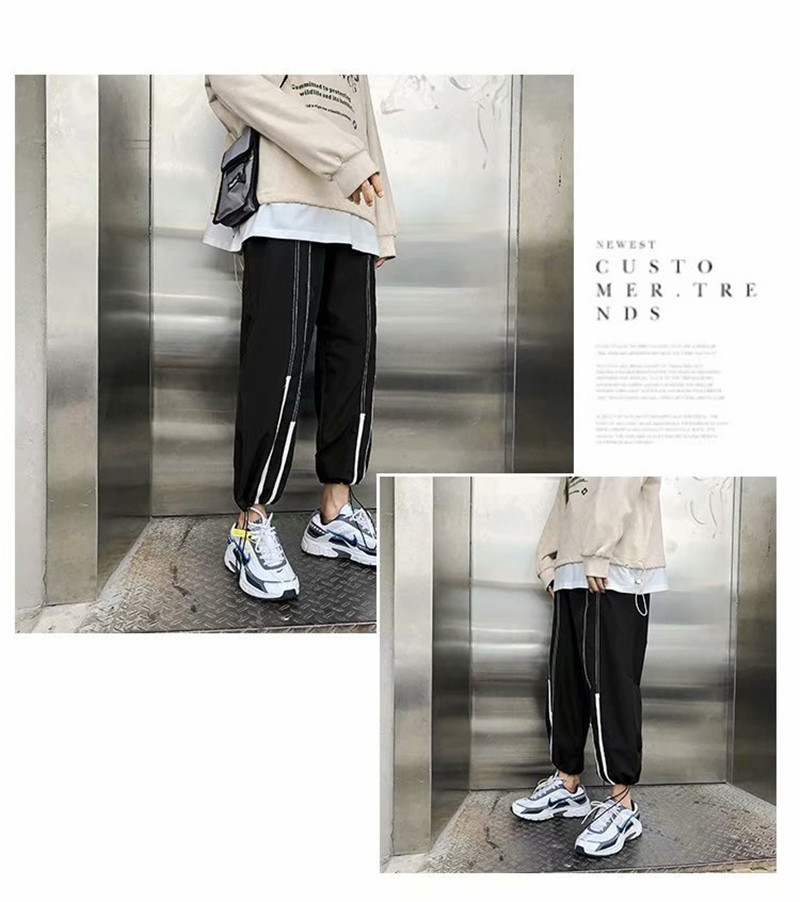 Summer Loose Casual Ankle-Length Pants Thin Men`s Women Jogger Pants Fashion Teens Boys Girls Joggers Sports Striped Trousers (17)