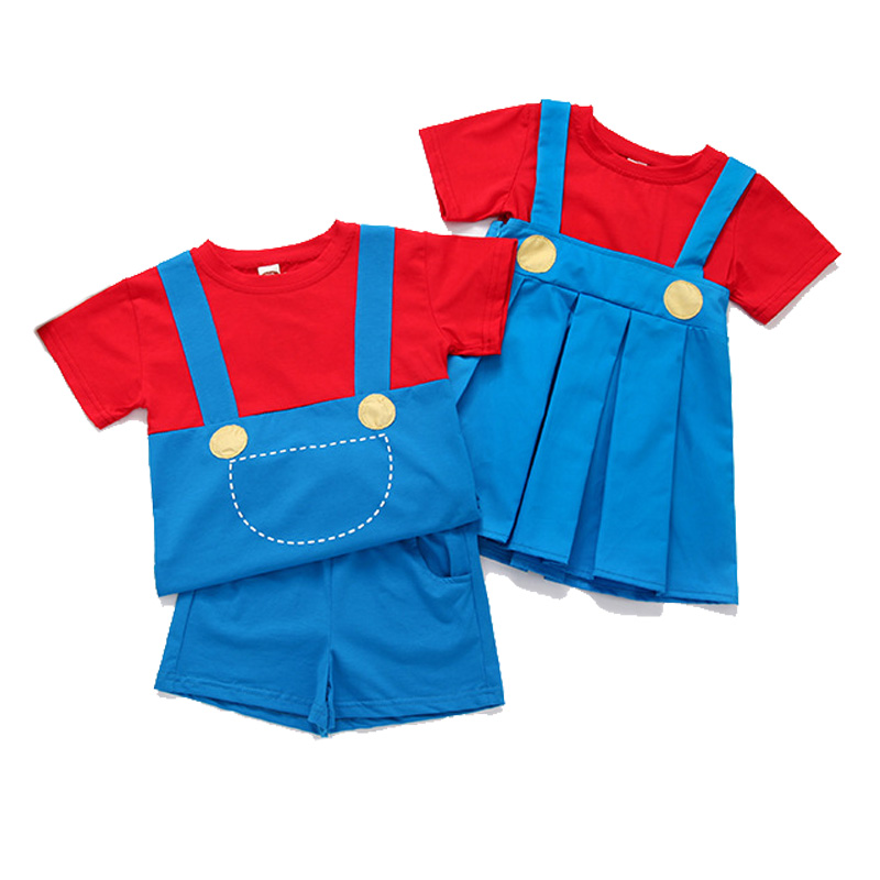 12M-6T Baby Kids Cosplay Super Mario Costume Super Mario Clothes For Child Boys Girl Cute Dress Set  Twins Cute Costumes