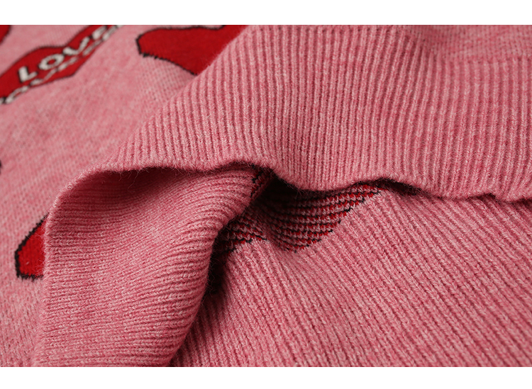 H.SA Women Oversized Sweater and Pullovers Oneck Sweet Heart Letters Printed Pull Jumpers Long SLeeve Pink Streetwear Knit Tops 13