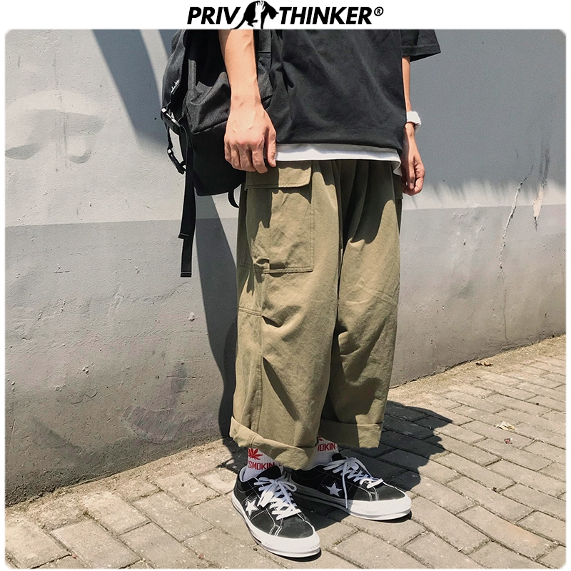 Privathinker Men Casual Straight 2020 Japanese Cargo Pants Mens Loose Collage Wide Leg Pants Male Streetwear Trousers Buttoms